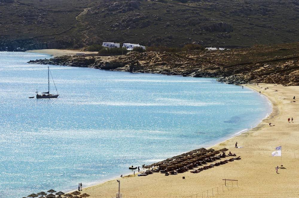 beach weather in elia beach mykonos greece in october. Black Bedroom Furniture Sets. Home Design Ideas